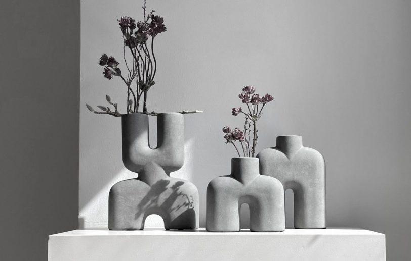 Vase Cobra tall gris