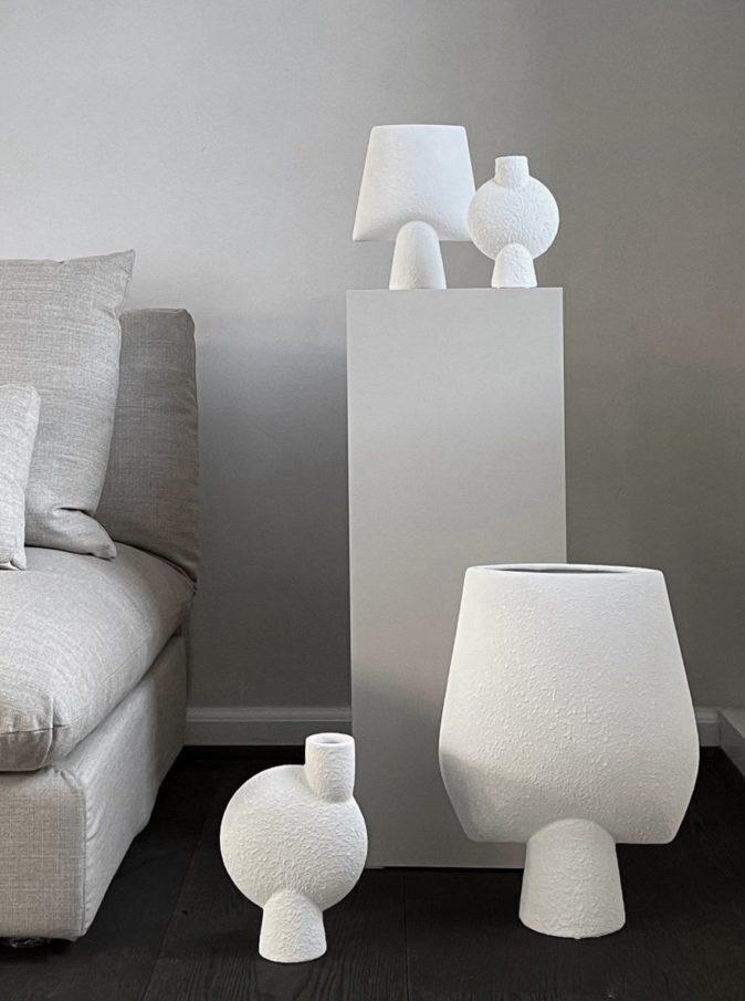 Vases Bubble Sphere et Square sphere blanc