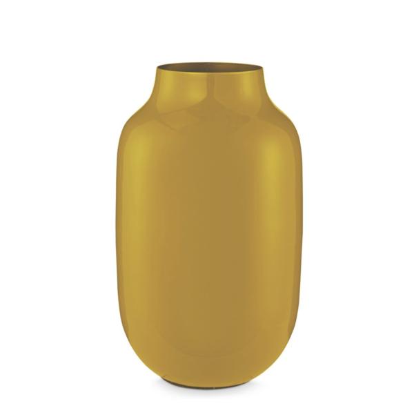 Vase en métal oval jaune